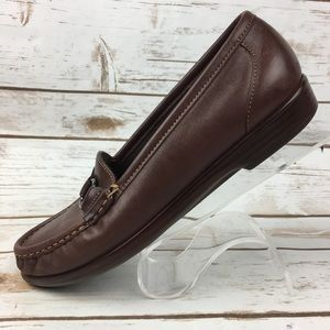 SAS Brown Leather Comfort Loafer Shoes 7 Narrow 7N